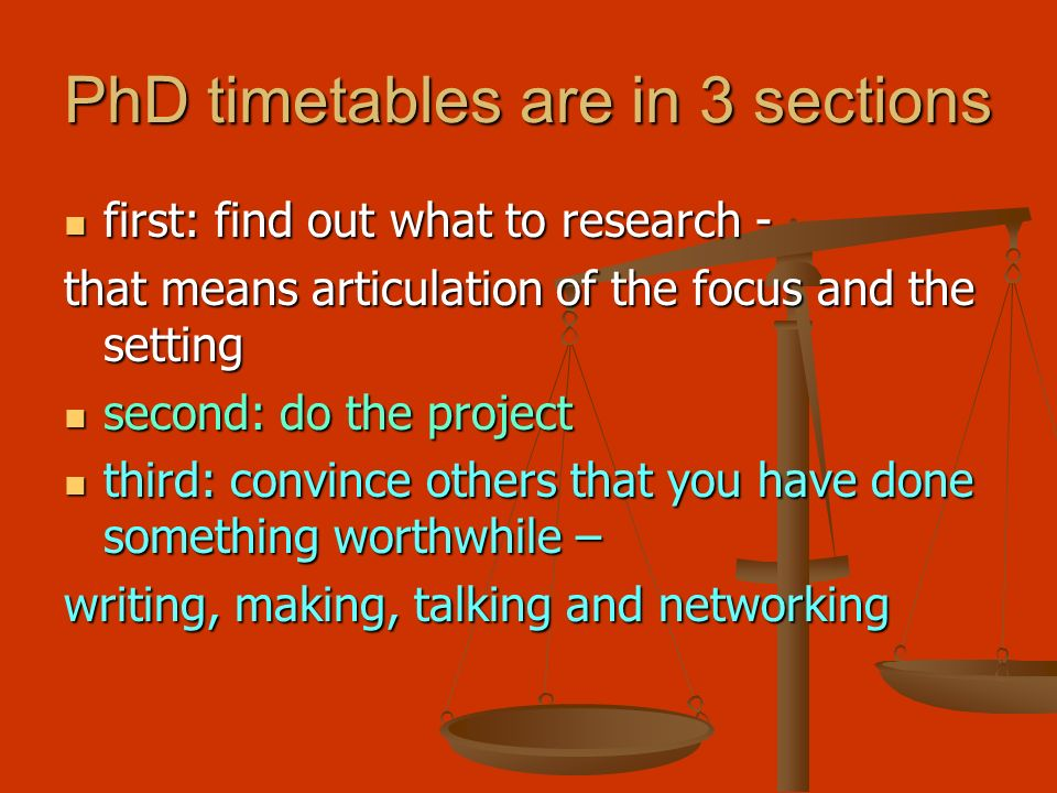 PhD timetables are in 3 sections first: find out what to research - first: find out what to research - that means articulation of the focus and the setting second: do the project second: do the project third: convince others that you have done something worthwhile – third: convince others that you have done something worthwhile – writing, making, talking and networking