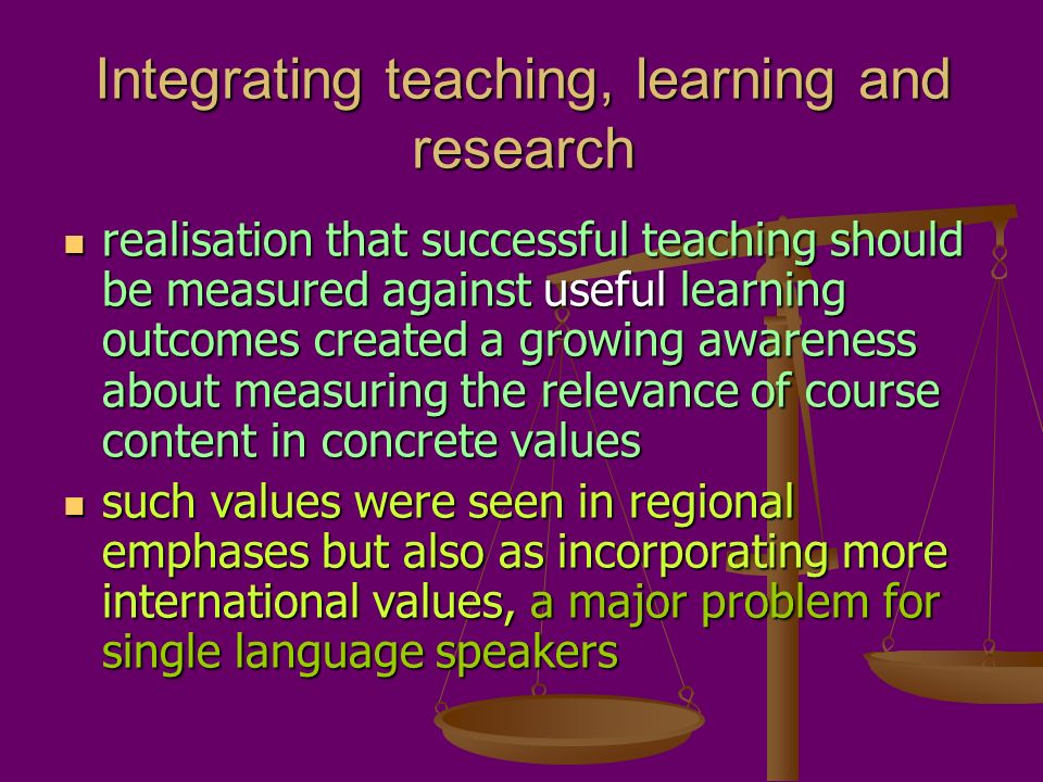 Integrating teaching, learning and research realisation that successful teaching should be measured against useful learning outcomes created a growing awareness about measuring the relevance of course content in concrete values realisation that successful teaching should be measured against useful learning outcomes created a growing awareness about measuring the relevance of course content in concrete values such values were seen in regional emphases but also as incorporating more international values, a major problem for single language speakers such values were seen in regional emphases but also as incorporating more international values, a major problem for single language speakers