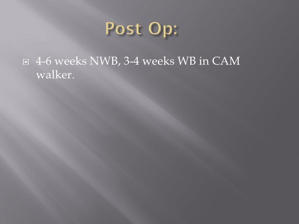 4-6 weeks NWB, 3-4 weeks WB in CAM walker.