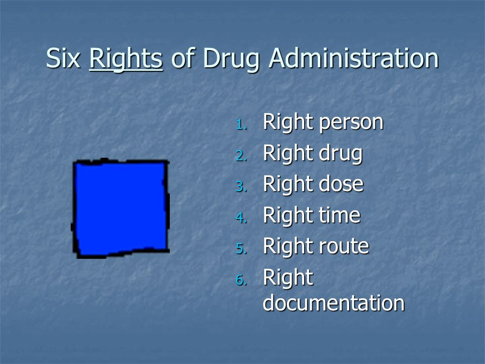Six Rights of Drug Administration 1. Right person 2. Right drug 3. Right dose 4. Right time 5. Right route 6. Right documentation