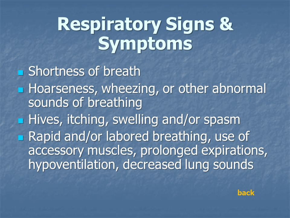Respiratory Signs & Symptoms Shortness of breath Shortness of breath Hoarseness, wheezing, or other abnormal sounds of breathing Hoarseness, wheezing,