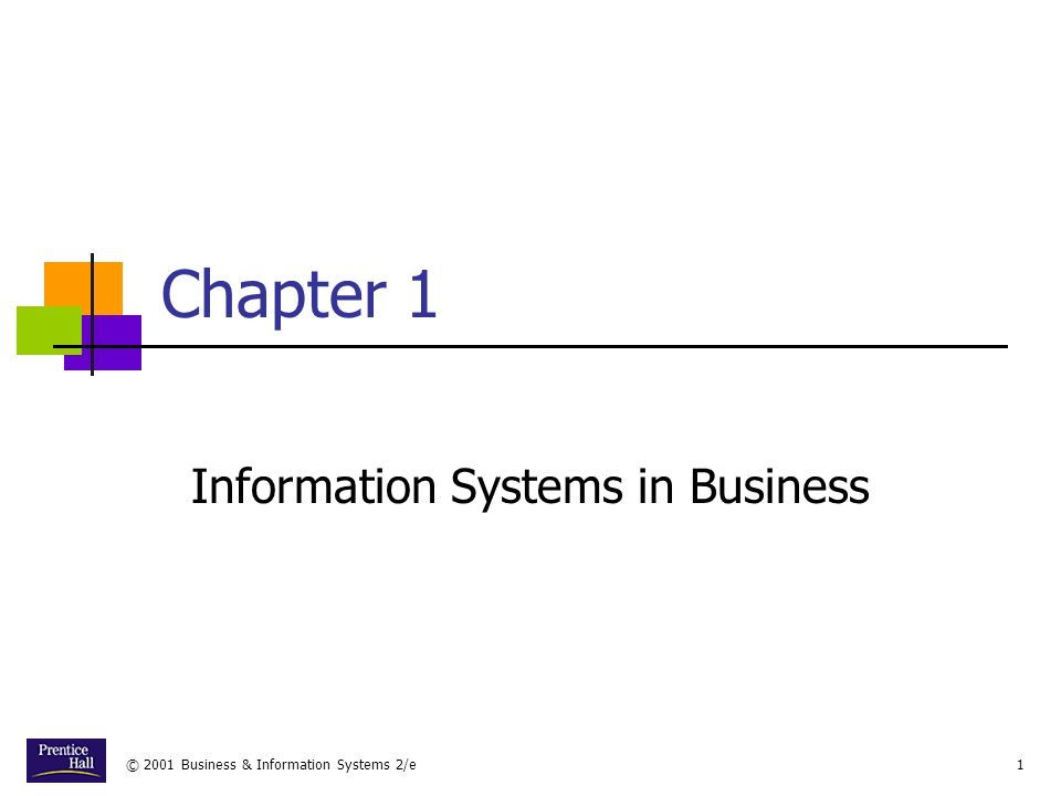 © 2001 Business & Information Systems 2/e12 Types of Information Systems Information Systems in Business