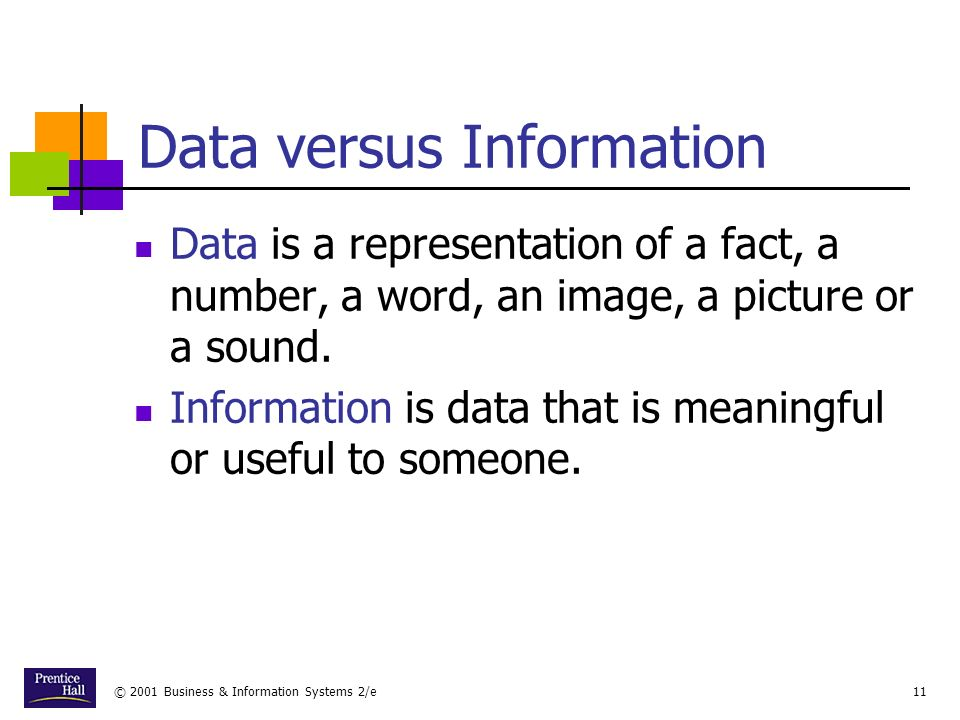 © 2001 Business & Information Systems 2/e11 Data versus Information Data is a representation of a fact, a number, a word, an image, a picture or a sound.