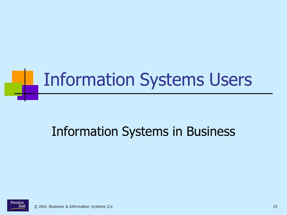 © 2001 Business & Information Systems 2/e15 Information Systems Users Information Systems in Business