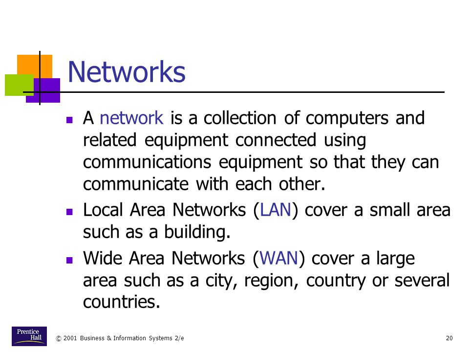 © 2001 Business & Information Systems 2/e20 Networks A network is a collection of computers and related equipment connected using communications equipment so that they can communicate with each other.
