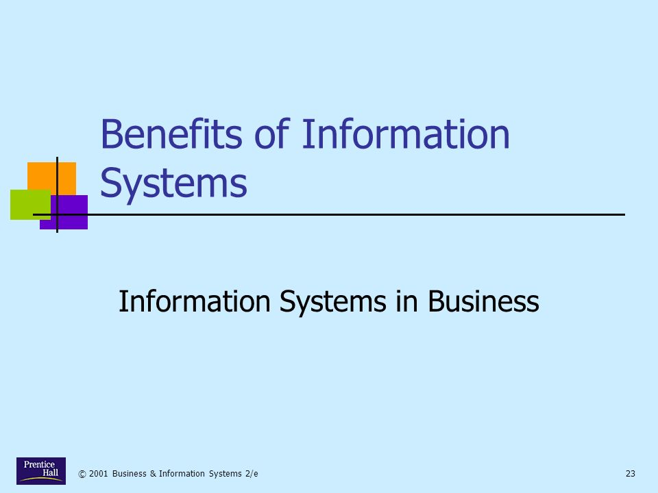 © 2001 Business & Information Systems 2/e23 Benefits of Information Systems Information Systems in Business
