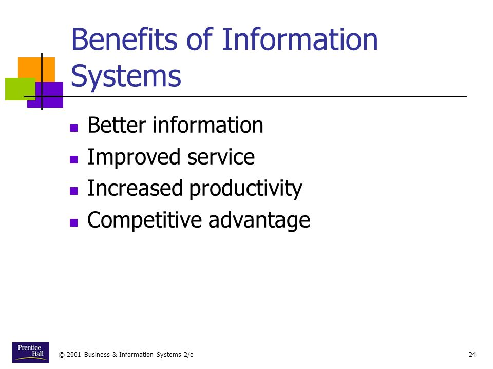 © 2001 Business & Information Systems 2/e24 Benefits of Information Systems Better information Improved service Increased productivity Competitive advantage