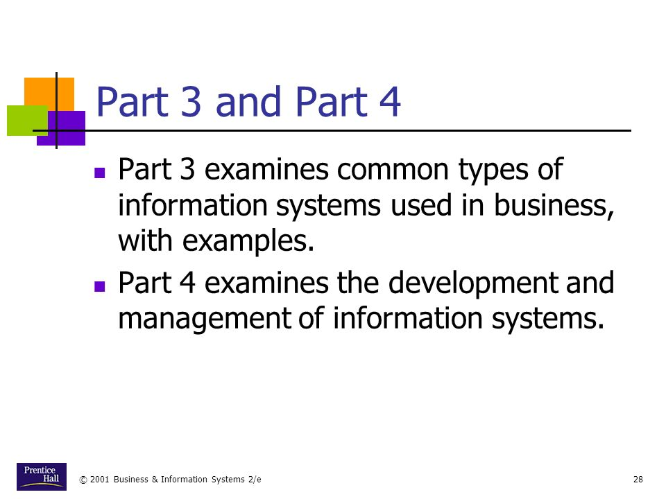 © 2001 Business & Information Systems 2/e28 Part 3 and Part 4 Part 3 examines common types of information systems used in business, with examples.
