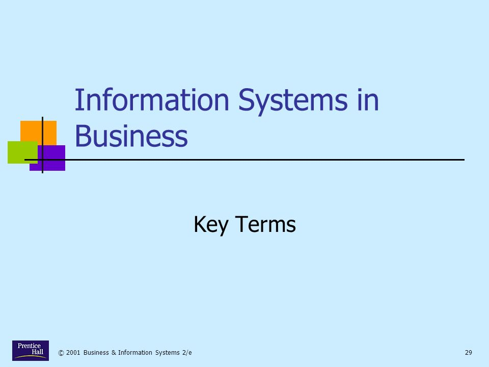 © 2001 Business & Information Systems 2/e29 Information Systems in Business Key Terms