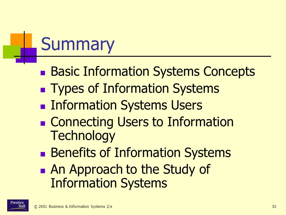 © 2001 Business & Information Systems 2/e33 Summary Basic Information Systems Concepts Types of Information Systems Information Systems Users Connecting Users to Information Technology Benefits of Information Systems An Approach to the Study of Information Systems