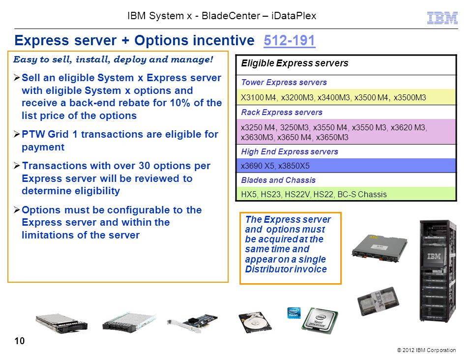 © 2012 IBM Corporation IBM System x - BladeCenter – iDataPlex 10 Express server + Options incentive 512-191512-191 Easy to sell, install, deploy and manage.