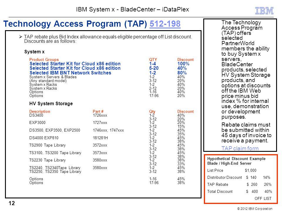 © 2012 IBM Corporation IBM System x - BladeCenter – iDataPlex 12 Technology Access Program (TAP) 512-198512-198 TAP rebate plus Bid Index allowance equals eligible percentage off List discount.