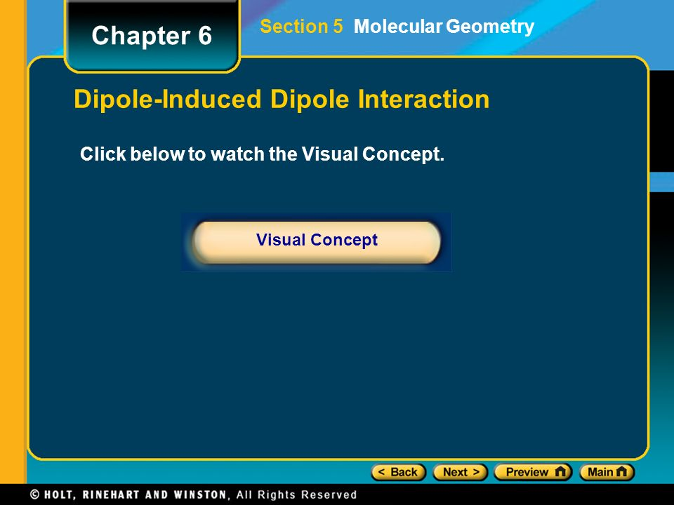 Intermolecular Forces, continued A polar molecule can induce a dipole in a nonpolar molecule by temporarily attracting its electrons. The result is a