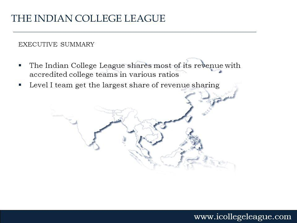 Gvmk,bj. EXECUTIVE SUMMARY The Indian College League shares most of its revenue with accredited college teams in various ratios Level I team get the l