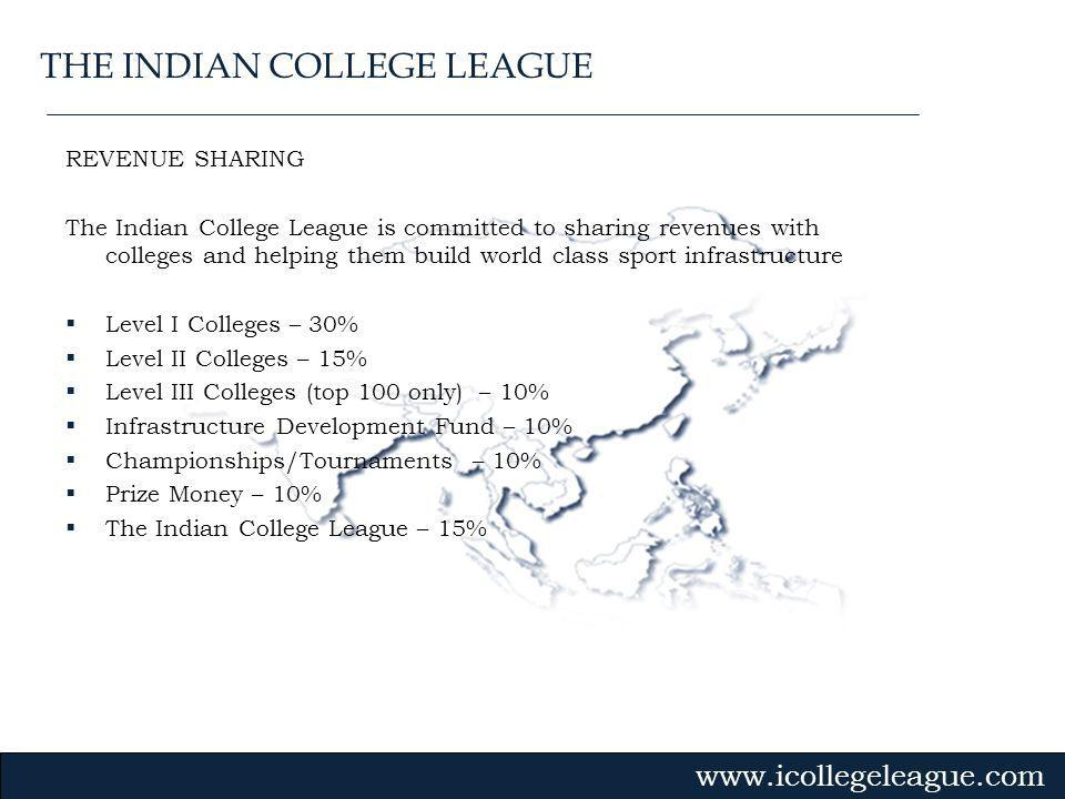 Gvmk,bj. REVENUE SHARING The Indian College League is committed to sharing revenues with colleges and helping them build world class sport infrastruct
