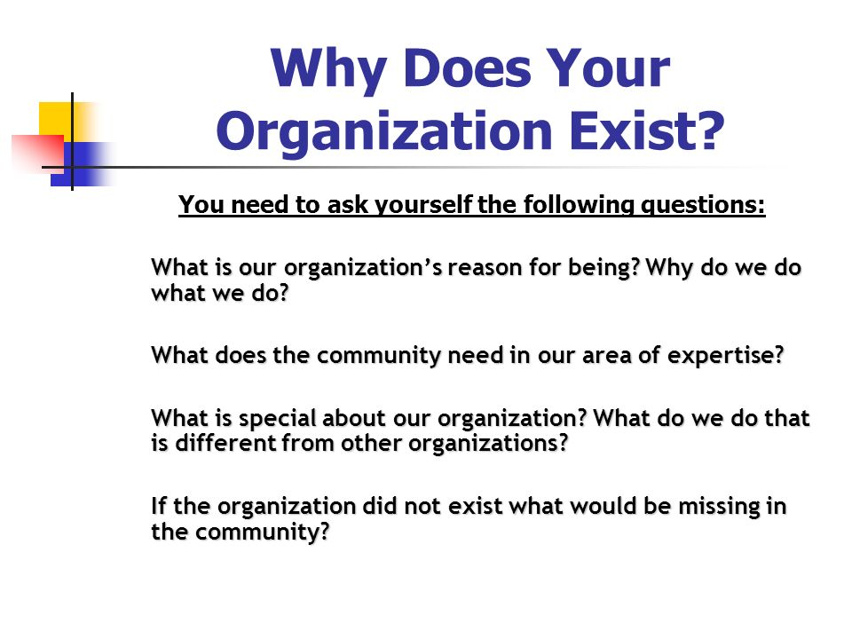 Why Does Your Organization Exist? You need to ask yourself the following questions: What is our organizations reason for being? Why do we do what we d