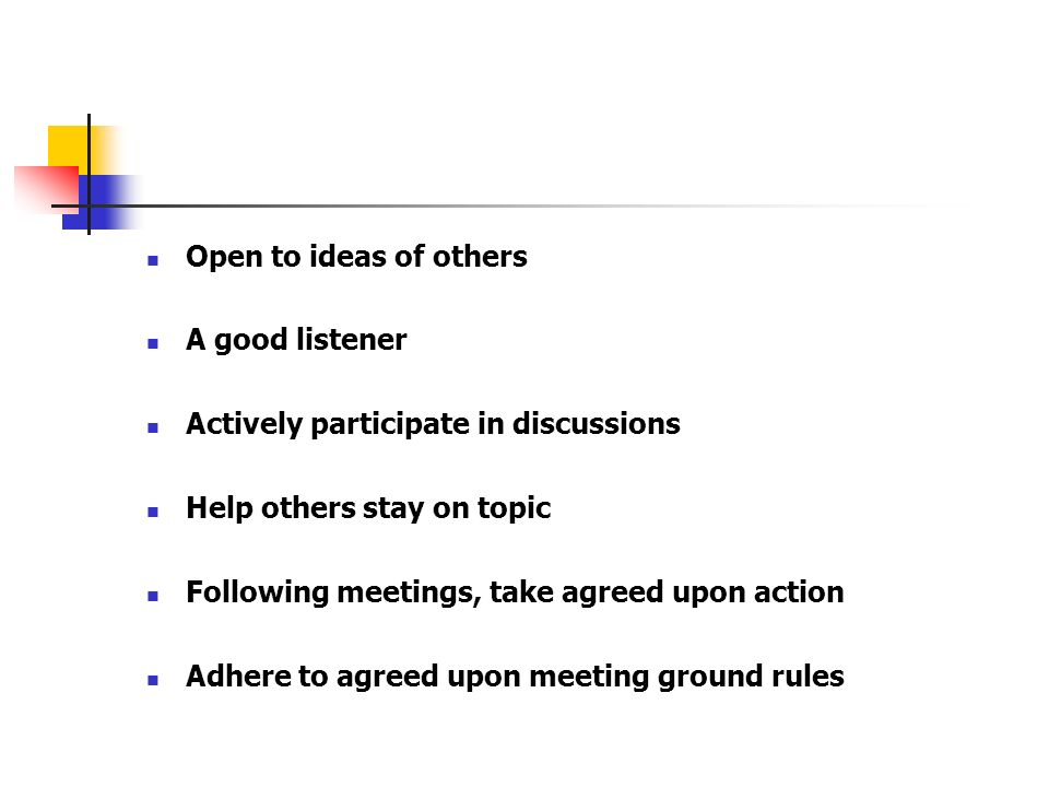 Open to ideas of others A good listener Actively participate in discussions Help others stay on topic Following meetings, take agreed upon action Adhe