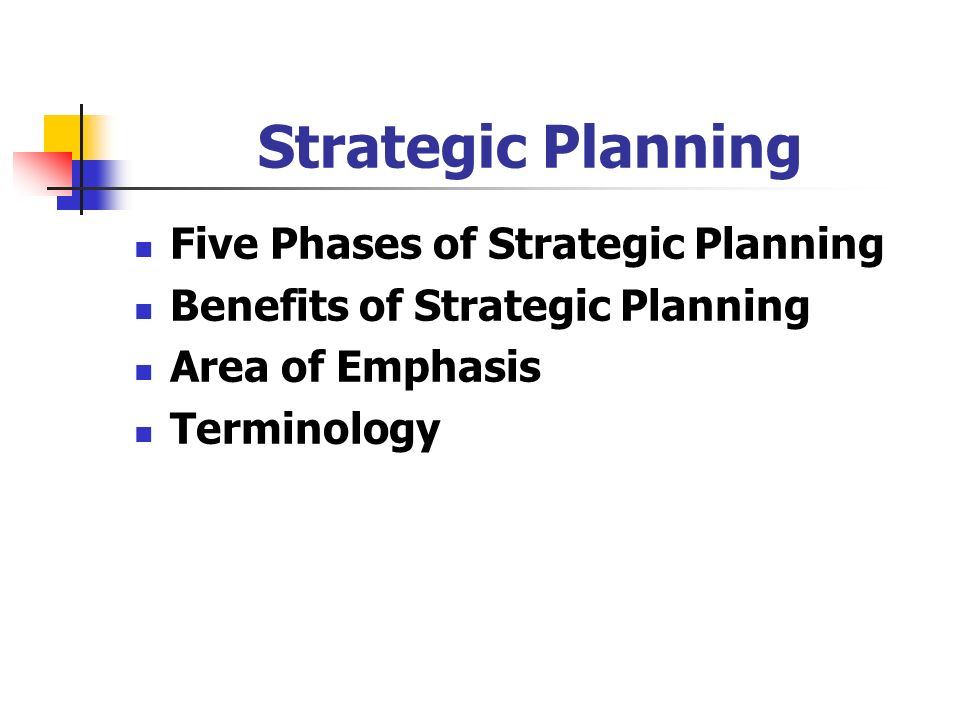 Strategic Planning Five Phases of Strategic Planning Benefits of Strategic Planning Area of Emphasis Terminology