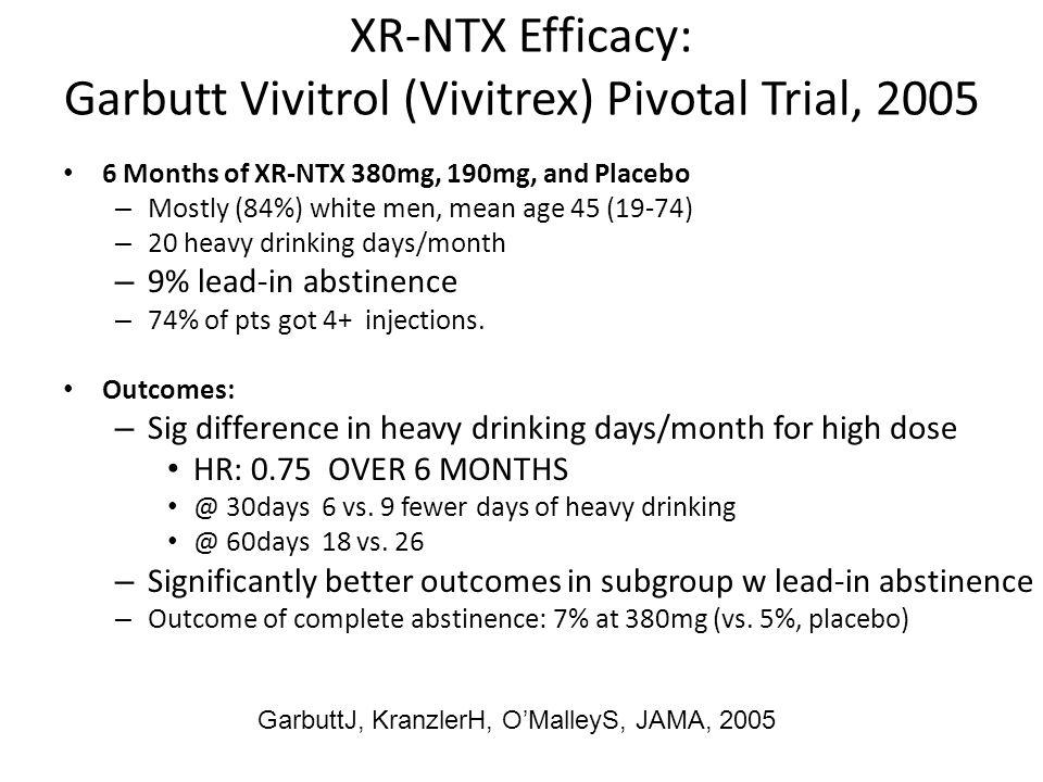 XR-NTX Efficacy: Garbutt Vivitrol (Vivitrex) Pivotal Trial, 2005 6 Months of XR-NTX 380mg, 190mg, and Placebo – Mostly (84%) white men, mean age 45 (1