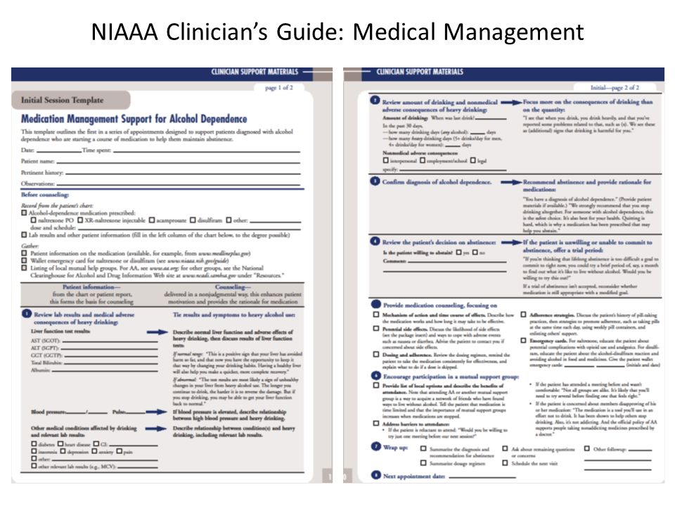 NIAAA Clinicians Guide: Medical Management