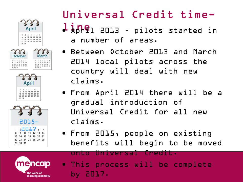 Universal Credit time- line April 2013 – pilots started in a number of areas. Between October 2013 and March 2014 local pilots across the country will