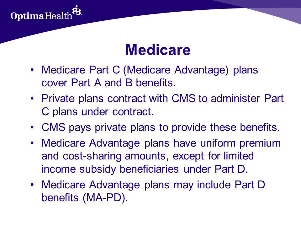 Medicare Part D Plans Part D plans include –Prescription Drug Plans (PDPs), –Medicare Advantage – Prescription Drug (MA- PD) plans, –Cost Plans that offer Part D prescription drug coverage, and –Program of All-Inclusive Care for the Elderly (PACE) plans.