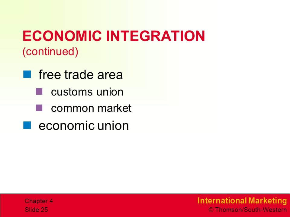 International Marketing © Thomson/South-Western Chapter 4 Slide 25 ECONOMIC INTEGRATION (continued) free trade area customs union common market economic union