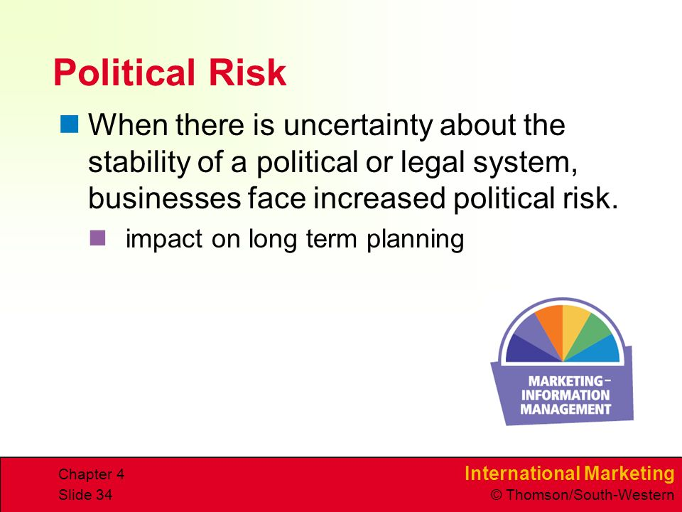 International Marketing © Thomson/South-Western Chapter 4 Slide 34 Political Risk When there is uncertainty about the stability of a political or legal system, businesses face increased political risk.