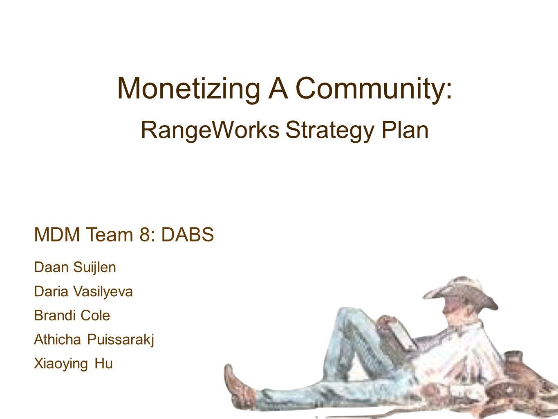 MDM Team 8: DABS RangeWorks Strategy Plan Monetizing A Community: Daan Suijlen Daria Vasilyeva Brandi Cole Athicha Puissarakj Xiaoying Hu