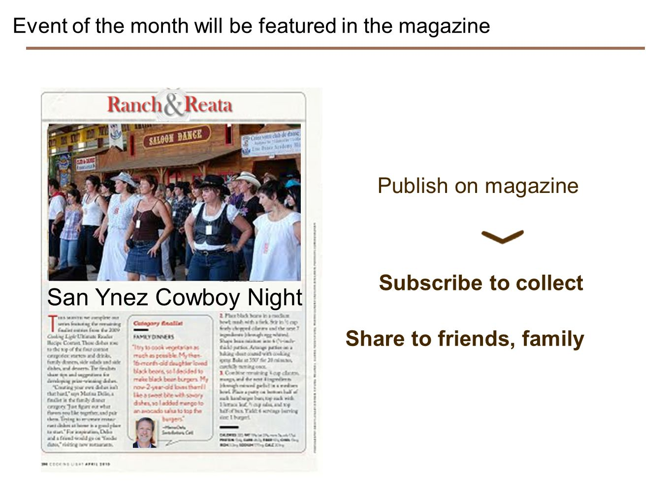 Event of the month will be featured in the magazine Aunt Julies Rhubarb pie San Ynez Cowboy Night Publish on magazine Subscribe to collect Share to friends, family