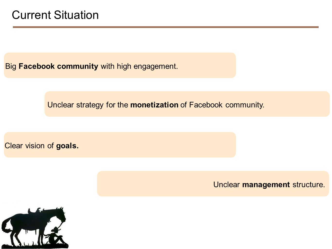 Current Situation Big Facebook community with high engagement.Clear vision of goals.Unclear management structure.Unclear strategy for the monetization of Facebook community.