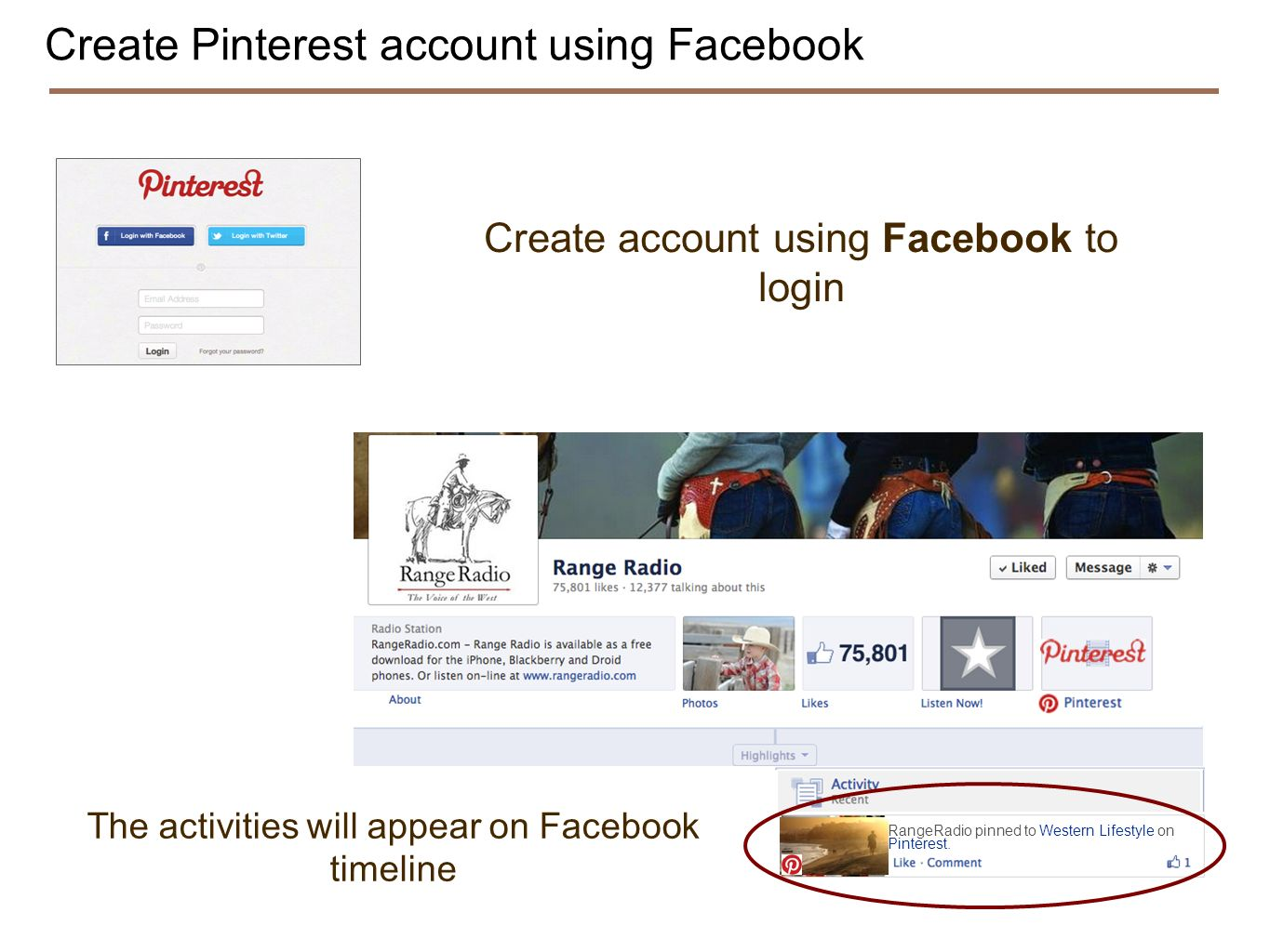 Create Pinterest account using Facebook Create account using Facebook to login RangeRadio pinned to Western Lifestyle on Pinterest. The activities wil