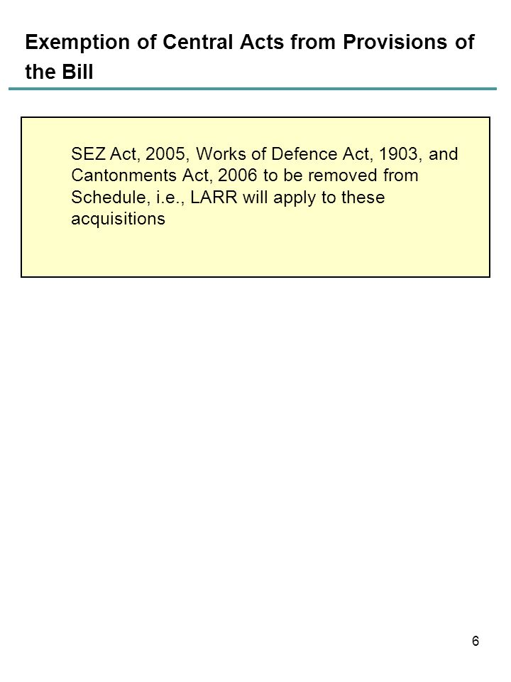 Exemption of Central Acts from Provisions of the Bill 6 SEZ Act, 2005, Works of Defence Act, 1903, and Cantonments Act, 2006 to be removed from Schedu