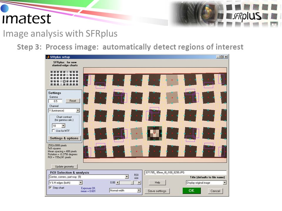 Image analysis with SFRplus Step 4: Analyze test results: sharpness across imaging plane