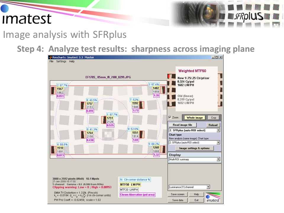 Image analysis with SFRplus Step 4: Analyze test results: sharpness in each region
