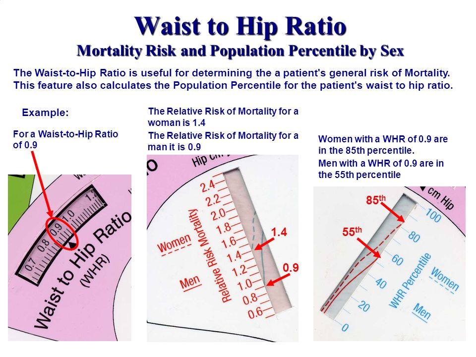 Waist to Hip Ratio Mortality Risk and Population Percentile by Sex The Relative Risk of Mortality for a woman is 1.4 The Relative Risk of Mortality fo