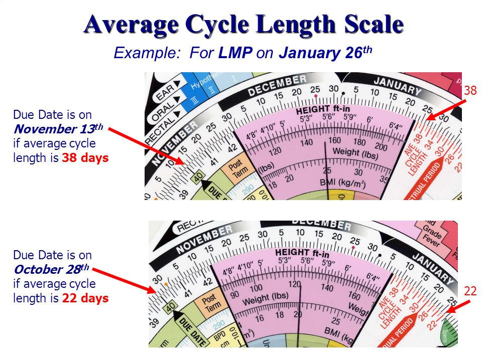 Average Cycle Length Scale Example: For LMP on January 26 th Due Date is on November 13 th if average cycle length is 38 days Due Date is on October 2