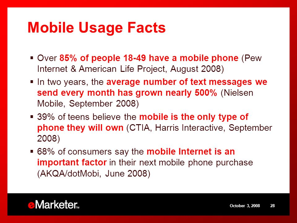 Mobile Usage Facts Over 85% of people have a mobile phone (Pew Internet & American Life Project, August 2008) In two years, the average number of text messages we send every month has grown nearly 500% (Nielsen Mobile, September 2008) 39% of teens believe the mobile is the only type of phone they will own (CTIA, Harris Interactive, September 2008) 68% of consumers say the mobile Internet is an important factor in their next mobile phone purchase (AKQA/dotMobi, June 2008) October 3,