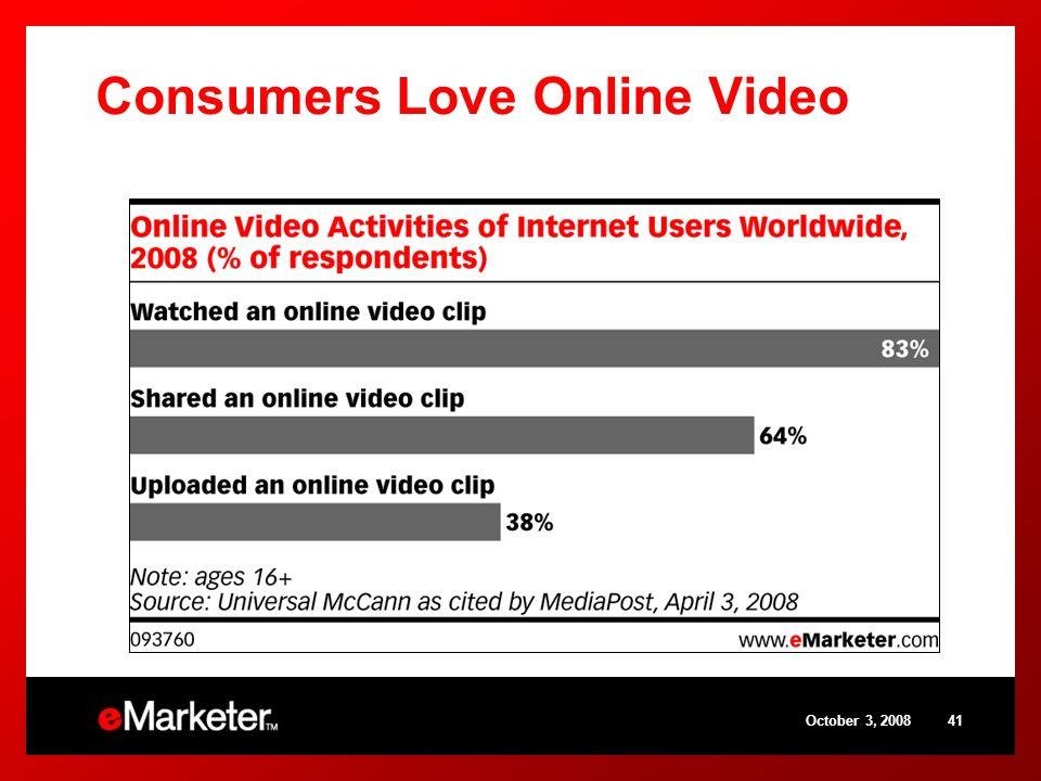 October 3, 200841 Consumers Love Online Video