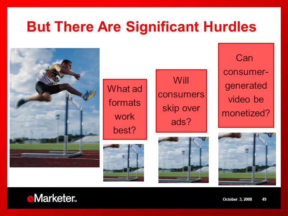 October 3, 200849 But There Are Significant Hurdles Can consumer- generated video be monetized? What ad formats work best? Will consumers skip over ad
