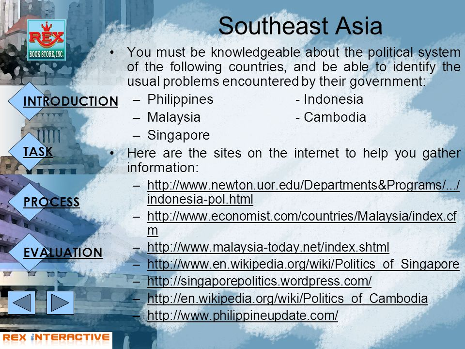 INTRODUCTION TASK PROCESS EVALUATION Southeast Asia You must be knowledgeable about the political system of the following countries, and be able to identify the usual problems encountered by their government: –Philippines- Indonesia –Malaysia- Cambodia –Singapore Here are the sites on the internet to help you gather information: –http://www.newton.uor.edu/Departments&Programs/.../ indonesia-pol.htmlhttp://www.newton.uor.edu/Departments&Programs/.../ indonesia-pol.html –http://www.economist.com/countries/Malaysia/index.cf mhttp://www.economist.com/countries/Malaysia/index.cf m –http://www.malaysia-today.net/index.shtmlhttp://www.malaysia-today.net/index.shtml –http://www.en.wikipedia.org/wiki/Politics_of_Singaporehttp://www.en.wikipedia.org/wiki/Politics_of_Singapore –http://singaporepolitics.wordpress.com/http://singaporepolitics.wordpress.com/ –http://en.wikipedia.org/wiki/Politics_of_Cambodiahttp://en.wikipedia.org/wiki/Politics_of_Cambodia –http://www.philippineupdate.com/http://www.philippineupdate.com/