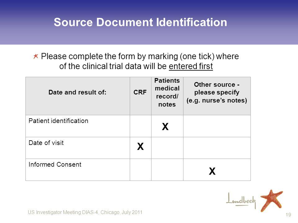 US Investigator Meeting DIAS-4, Chicago, July 2011 19 Source Document Identification Site no.: H.
