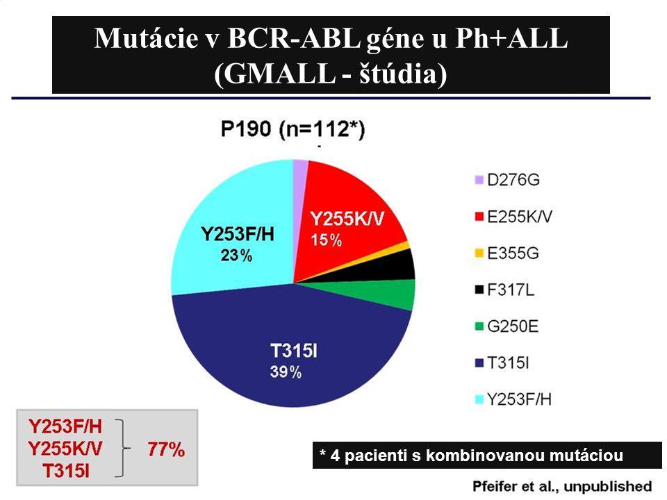 Mutácie v BCR-ABL géne u Ph+ALL (GMALL - štúdia) * 4 pacienti s kombinovanou mutáciou