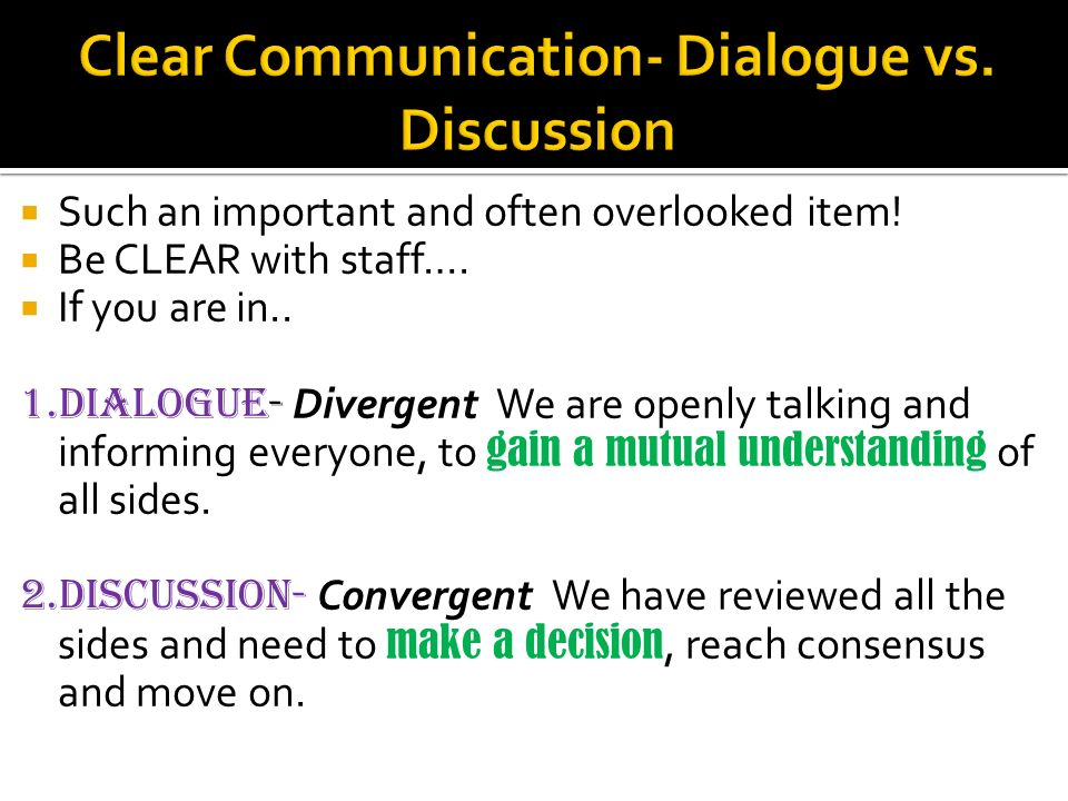 Such an important and often overlooked item. Be CLEAR with staff….