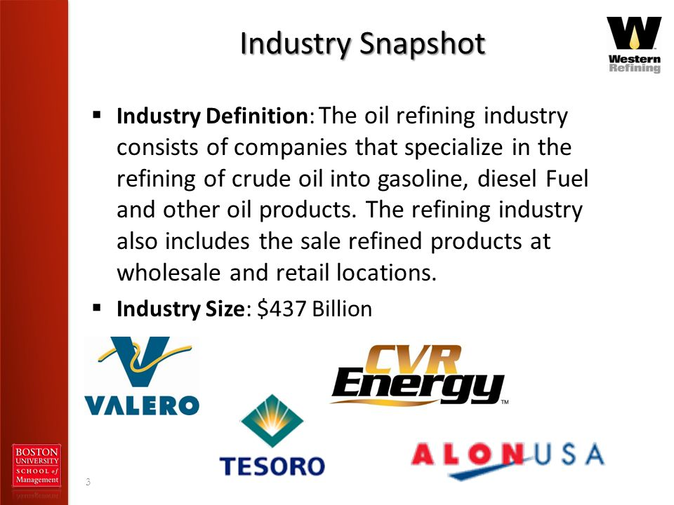 Industry Snapshot Industry Definition: The oil refining industry consists of companies that specialize in the refining of crude oil into gasoline, die