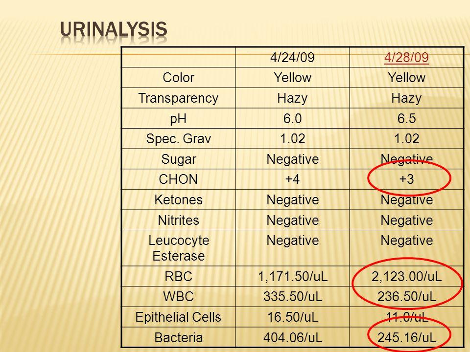 4/24/094/28/09 ColorYellow TransparencyHazy pH6.06.5 Spec. Grav1.02 SugarNegative CHON+4+3 KetonesNegative NitritesNegative Leucocyte Esterase Negativ