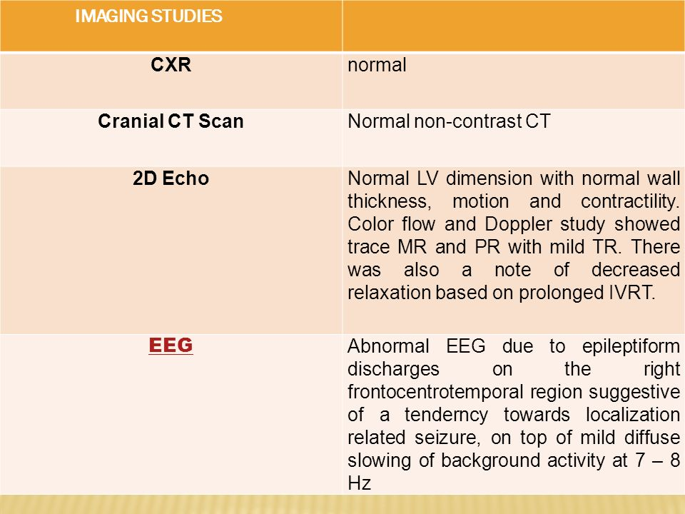 IMAGING STUDIES CXRnormal Cranial CT ScanNormal non-contrast CT 2D EchoNormal LV dimension with normal wall thickness, motion and contractility. Color