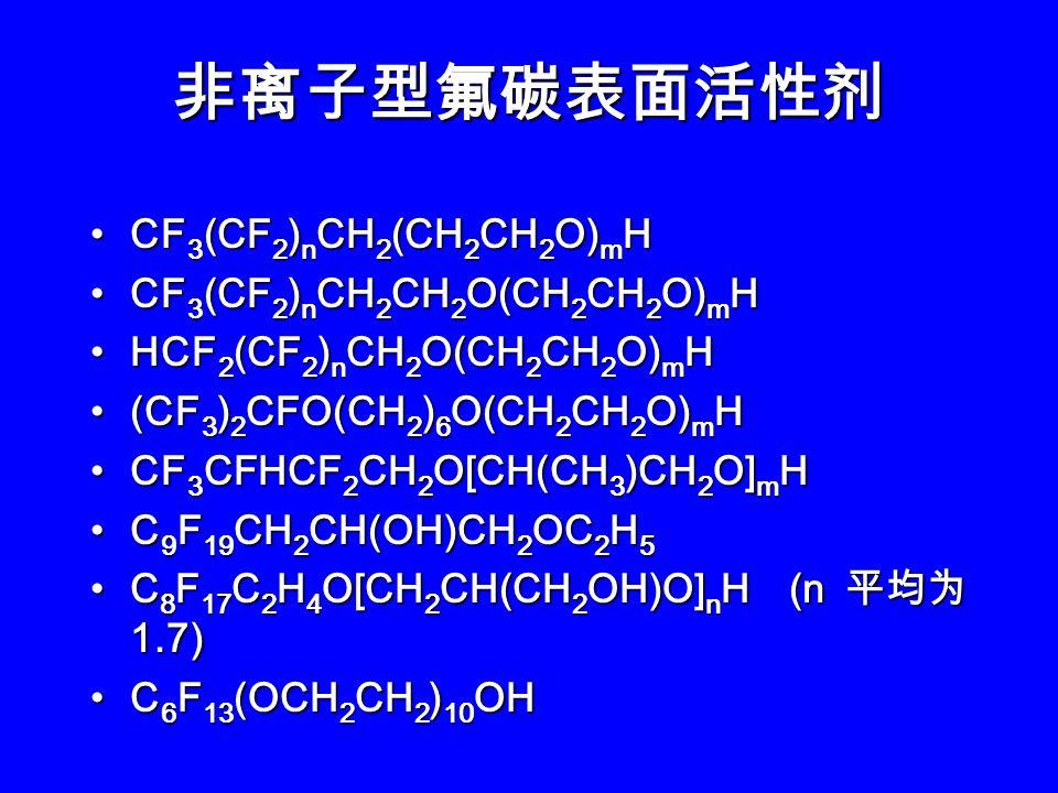 R f CH 2 CH(OOCCH 3 )CH 2 N + (CH 3 ) 2 CH 2 COO - R f CH 2 CH(OOCCH 3 )CH 2 N + (CH 3 ) 2 CH 2 COO - C 9 F 19 CONH(CH 2 ) 3 O(CH 2 ) 2 N + (CH 3 ) 2 CH 2 COO - C 9 F 19 CONH(CH 2 ) 3 O(CH 2 ) 2 N + (CH 3 ) 2 CH 2 COO - R f CH 2 CH 2 SCH 2 CH 2 N + (CH 3 ) 2 CH 2 COO - R f CH 2 CH 2 SCH 2 CH 2 N + (CH 3 ) 2 CH 2 COO - CF 3 (CF 2 ) n CH 2 CH 2 SO 2 NHCH 2 CH 2 N + (CH 3 ) 2 C H 2 CH 2 COO - CF 3 (CF 2 ) n CH 2 CH 2 SO 2 NHCH 2 CH 2 N + (CH 3 ) 2 C H 2 CH 2 COO - n = 5, 7, 9 n = 5, 7, 9 p-C 8 F 17 C 6 H 4 NH(CH 2 ) 3 N + (CH 3 ) 2 CH 2 COO - p-C 8 F 17 C 6 H 4 NH(CH 2 ) 3 N + (CH 3 ) 2 CH 2 COO - C 8 F 17 CH 2 CH 2 CONH(CH 2 ) 3 N + (CH 3 ) 2 (CH 2 ) 3 SO 3 - C 8 F 17 CH 2 CH 2 CONH(CH 2 ) 3 N + (CH 3 ) 2 (CH 2 ) 3 SO 3 - R f CH 2 CH 2 SCH 2 CH(OSO 3 - )CHN + (CH 3 ) 3 R f CH 2 CH 2 SCH 2 CH(OSO 3 - )CHN + (CH 3 ) 3