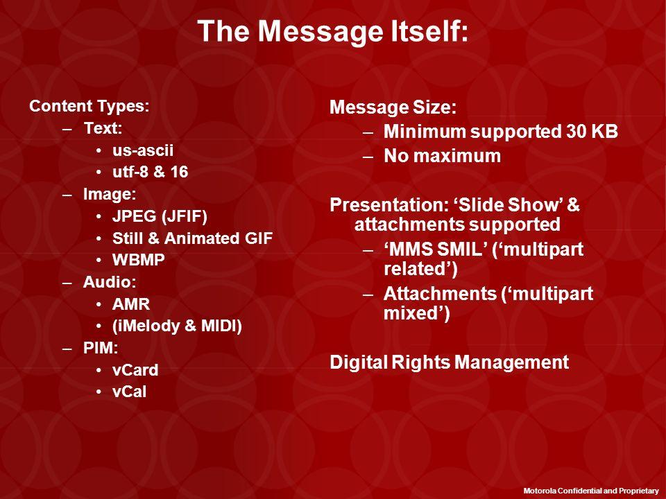 MMS is Agnostic to Transport Future Backbone 2.5G / CDMA 1x Backbone 2G Backbone Cellular Network MMSc Internet / E Mail Motorola Confidential and Pro