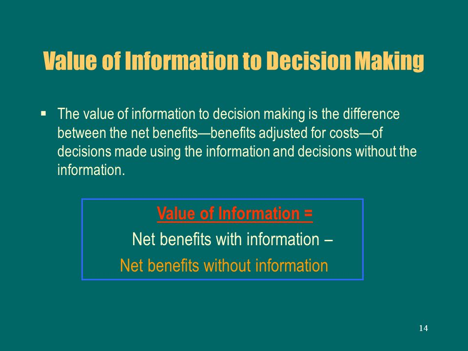 14 Value of Information to Decision Making The value of information to decision making is the difference between the net benefitsbenefits adjusted for